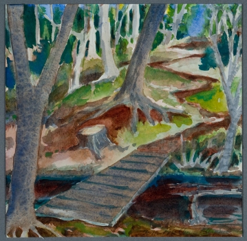 """Monhegan XX: Bridge"", Watercolor"