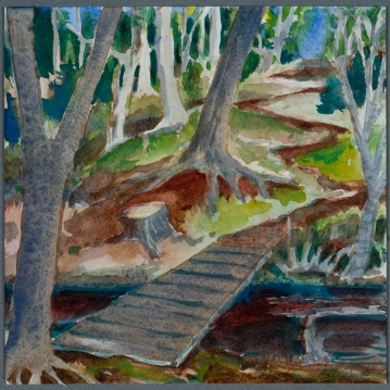 """Monhegan XX: Bridge"", Watercolor"