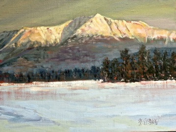 """Katadhin from Twin Pines, Minus 3 Degrees at Dawn"" Oil/Linen 9"" X 12"""