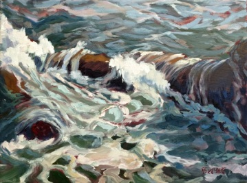 """Surf, North End of Gull Rock"" Oil/Linen 9"" X 12"""