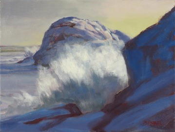 """Winter Surf Between Gull Rock and Boar's Head"" Oil/ Linen 9"" X 12"""