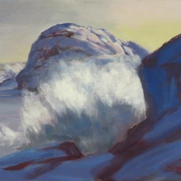 """Winter Surf Between Gull Rock and Boar's Head"" Oil/ Linen 9"" X 12"""