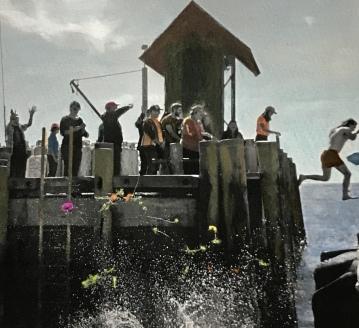 Dock Jumpers, Painted Photograph, Monhegan