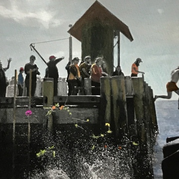 Dock Jumpers, Painted Photograph, Monhegan