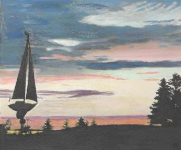 Sunset Monhegan, Painted Photograph