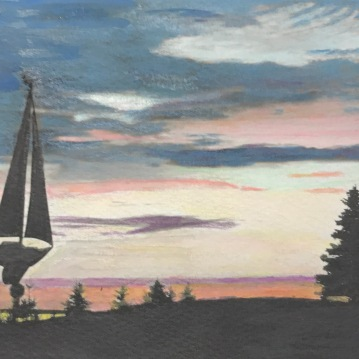 Sunset Monhegan, Painted Photograph