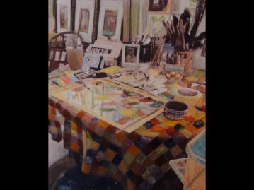 Work table, painted photograph, Monhegan
